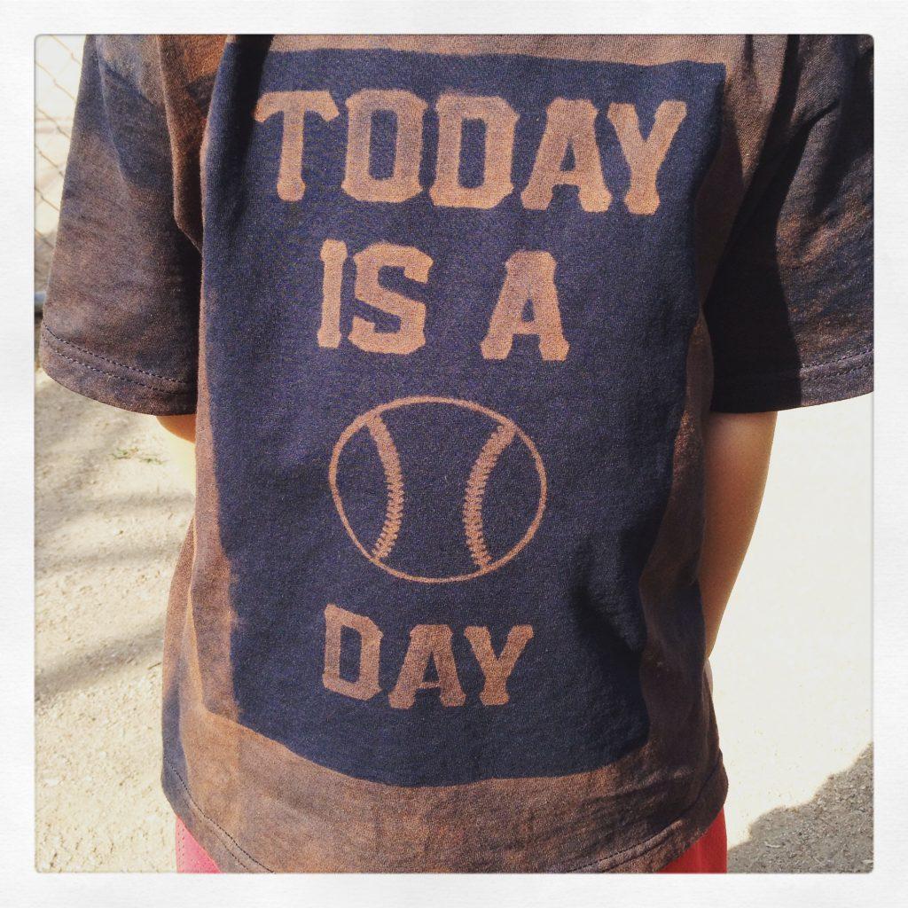 Baseball shirt with a funny saying.